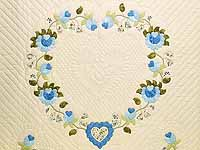 Blue and Willow Heart of Roses Quilt
