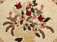 Carmel Peach Rose and Moss Victorian Basket Quilt