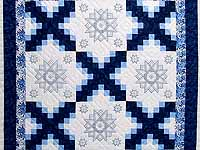 Navy Blue and Ivory Cross Stitch Irish Chain Quilt