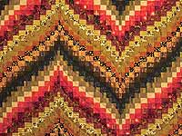 Green Gold Red and Brass Reverse Bargello Quilt