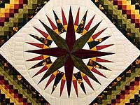 Green Red and Gold Compass Trip Quilt