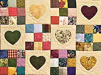 Green, Burgundy and Multi Hearts and Nine Patch Quilt