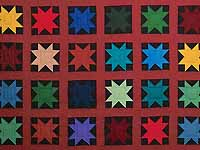Blue Burgundy and Multi Amish Variable Stars Quilt