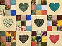 Moss Burgundy and Multi Hearts and Nine Patch Quilt