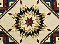 Navy Burgundy and Golden Tan Lone Star Log Cabin Quilt