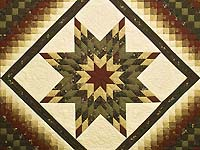 King Moss Green Burgundy and Golden Cream Lone Star Trip Quilt