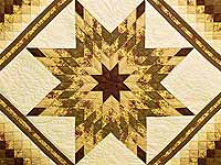 Gold Moss and Burgundy Lone Star Trip Quilt