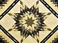 Moss Gold Black and Peach Lone Star Trip Quilt