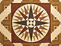 Brick Red Moss and Gold Compass Log Cabin Quilt