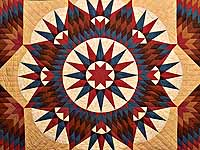 King Blue Red and Golden Tan Mariner's Star Quilt