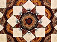King Burgundy Black Gold and Green  Broken Star Quilt