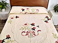 King Ivory and Dusty Rose Lancaster Treasures Quilt