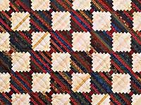 King Tans and Multicolor Log Cabin on the Point Quilt