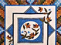 Blue Navy and Gold Rainbow Reflections Quilt