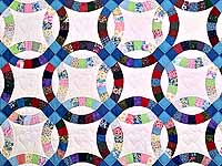 Twin Multicolor Double Wedding Ring Quilt