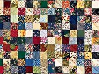 Green Burgundy and Multicolor Postage Stamp Quilt