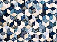 King Blue Navy and Cream Tumbling Blocks Quilt
