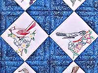 Embroidered State Birds and Flowers Quilt