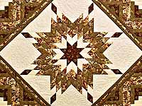 King Moss Burgundy and Cream Lone Star Log Cabin Quilt