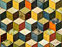 Green and Multicolor Tumbling Blocks Quilt