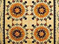 King Gold Brown and Burgundy Starburst Quilt