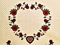 Red  and Gold Heart of Roses Quilt