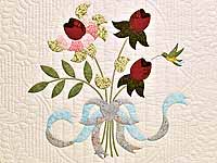 Burgundy Rose and Blue Lancaster Treasures Quilt
