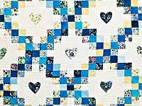 Blue and Yellow Irish Chain with Hearts Quilt