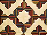 Twin Country Colors Log Cabin Quilt