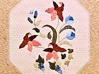 King Moss Coral and Blue Petal Showcase Quilt