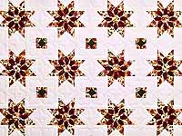 Green and Burgundy Dahlia Star Quilt