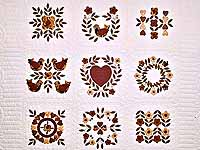Burgundy and Gold Appliqué Album Sampler Quilt