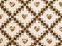 Moss and Dusty Rose Irish Chain with Hearts Quilt