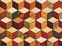 King Green Gold and Burgundy Tumbling Blocks Quilt