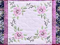 Mauve Floral Cross Stitch Quilt