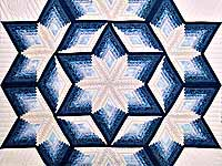 Blue and Cream Diamond Star Log Cabin Quilt