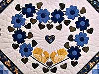 Blue and Golden Yellow Sunshine Sweetheart Quilt