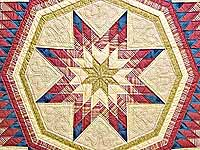Raspberry Blue and Tan Royal Star of Maryland Quilt