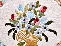 Blue and Rose Spring Basket Quilt
