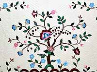 Rose Blue and Green Tree of Life Appliqué Quilt