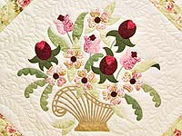 King Willow Green and Rose Spring Basket Quilt