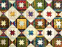 Hand Painted Courthouse Log Cabin Stars Quilt