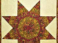 Red and Gold Hand Painted Lone Star Quilt