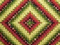 Burgundy Green and Golden Tan Trip Around the World Quilt