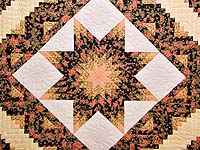 Gold Rose and Black Lone Star Log Cabin Quilt