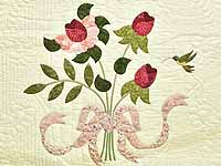 Red Roses on Cream Lancaster Treasures Quilt