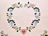 King Powder Blue Pink and Rose Heart of Roses Quilt