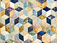 Pastel Blue Hand Painted Tumbling Blocks Quilt
