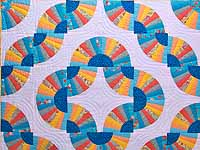 Colorful Grandmother's Fan Quilt