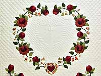 Burgundy and Green Heart of Roses Quilt